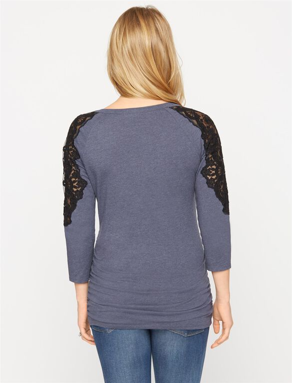 Lace Shoulder Maternity Tee, Midnight