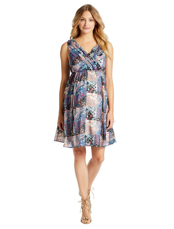 Jessica Simpson Floral Patchwork Maternity Dress, Floral Print