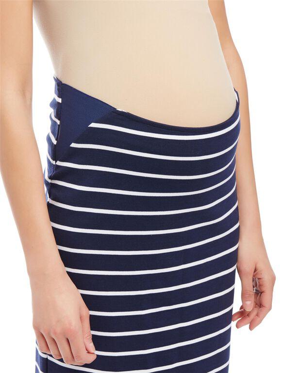 Secret Fit Belly Striped Pencil Fit Maternity Skirt, Navy/White Stripe