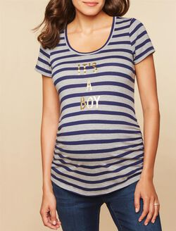 It's a Boy Striped Maternity Tee, Navy Gray Stripe