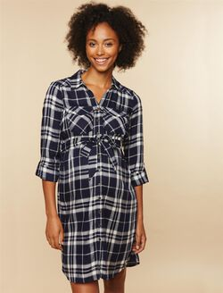 Flannel Plaid Maternity Shirt Dress, Navy Plaid