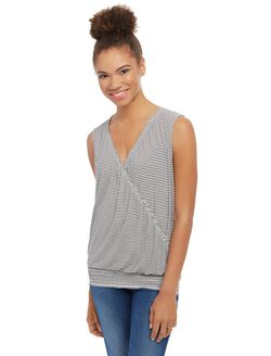 Pull Down Smocked Nursing Tank, Stripe