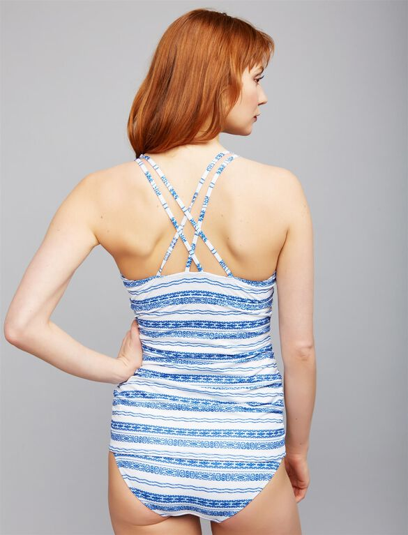 Textured Stripe Maternity Tankini Swimsuit, Blue & White Stripe