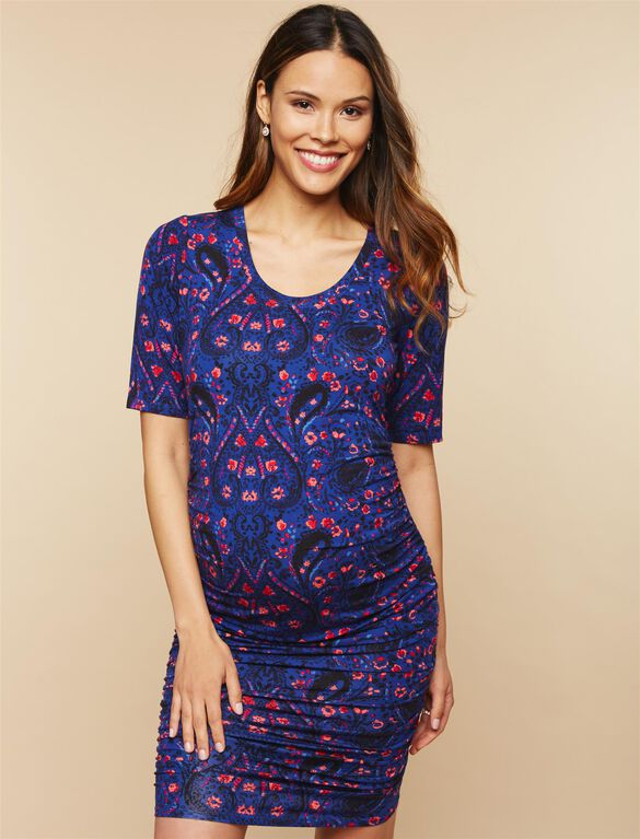 Side Ruched Maternity Dress, Blue Paisley Print
