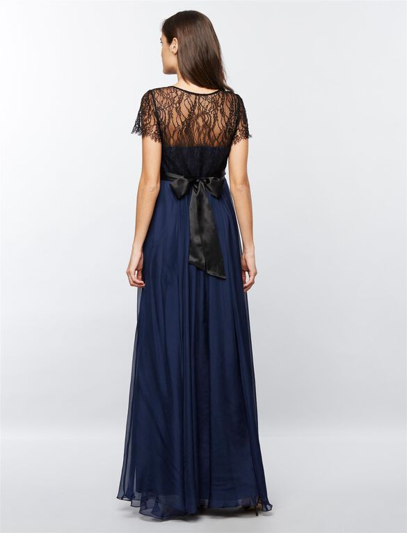 Seraphine Lace Maternity Evening Dress, Blue/Black Lace