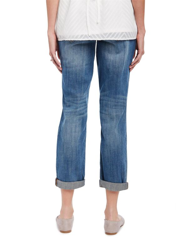Indigo Blue Secret Fit Belly Boyfriend Maternity Jeans, Medium Wash