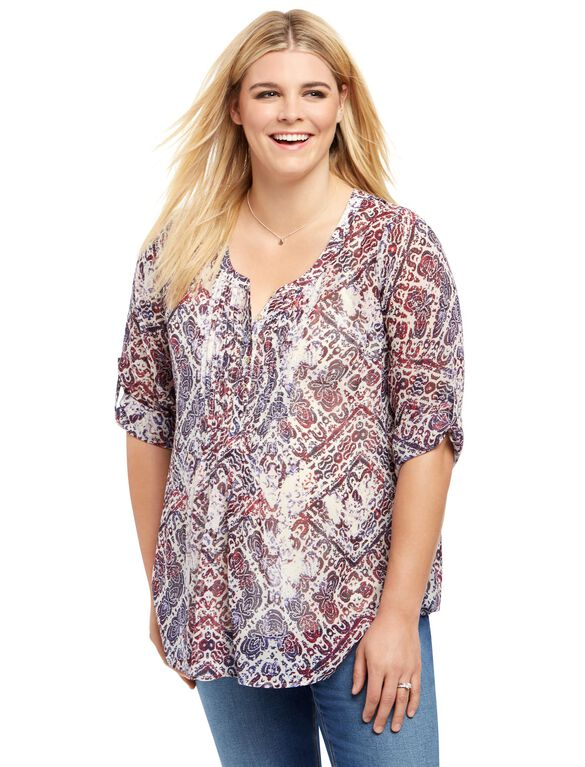Plus Size Pleated Maternity Blouse, Americana Paisley