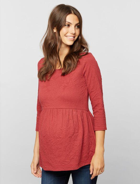 Peplum Maternity Top, Antique Red