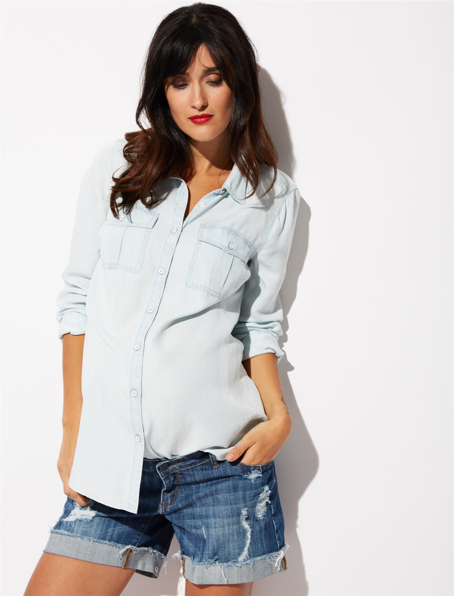 Luxe Essentials Denim Chambray Button Front Maternity Shirt