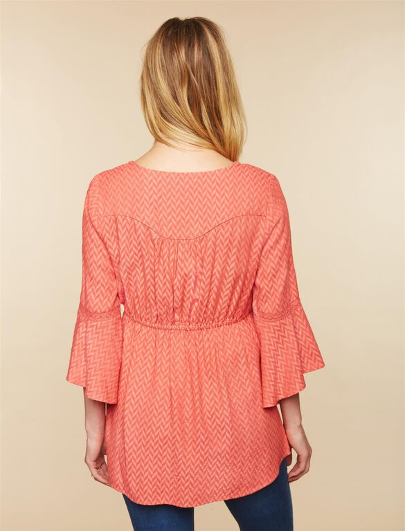 Chevron Stripe Maternity Blouse, Coral