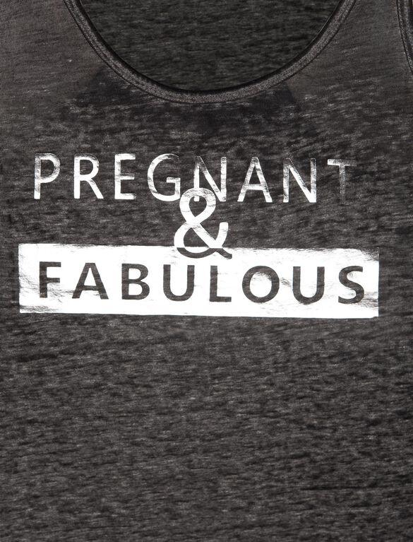 Racerback Sleeveless Maternity Graphic Tank Top, Dark Grey