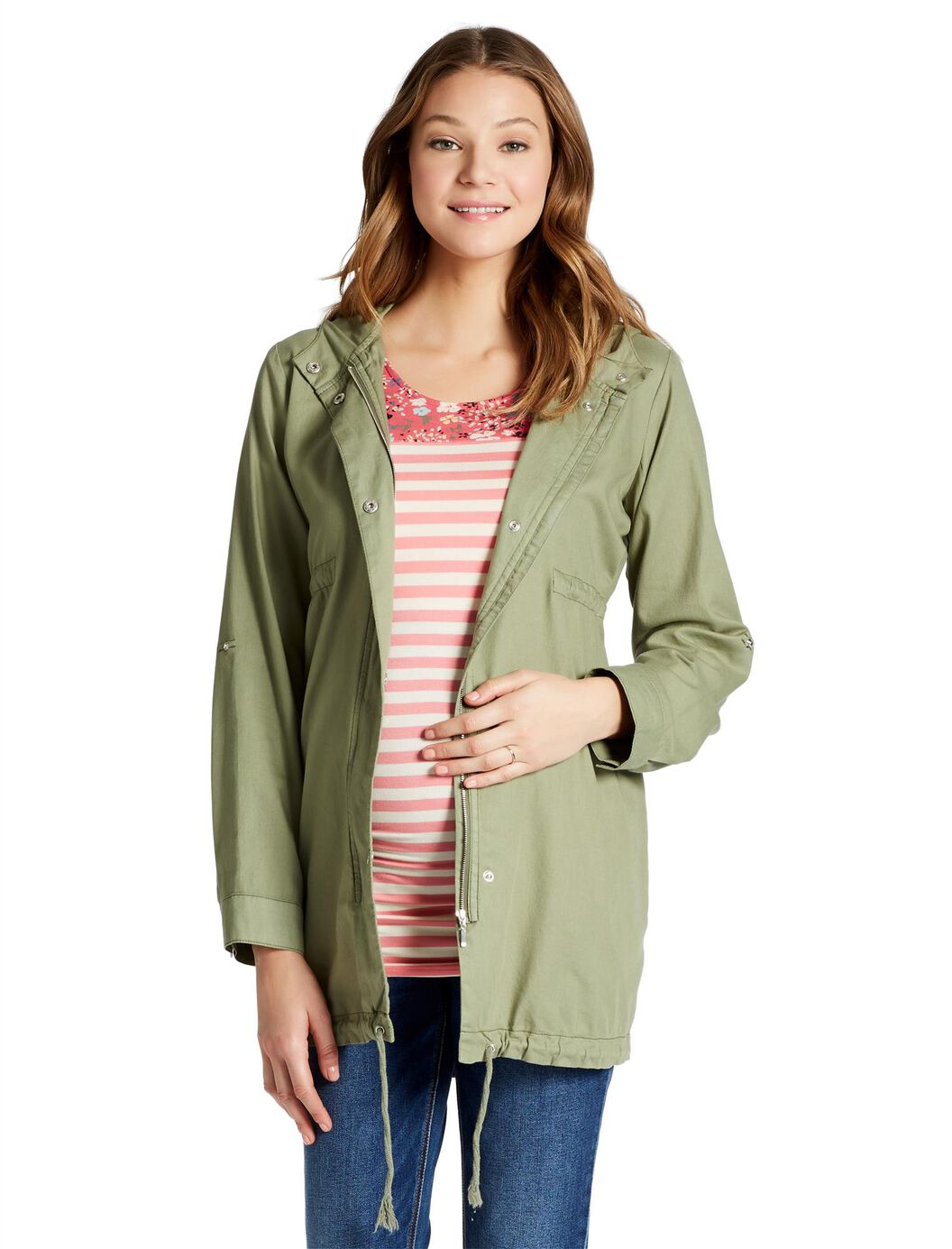 Jessica Simpson Super Soft Twill Maternity Jacket at Motherhood Maternity in Victor, NY | Tuggl