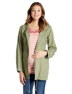 Jessica Simpson Super Soft Twill Maternity Jacket, Four Leaf Clover