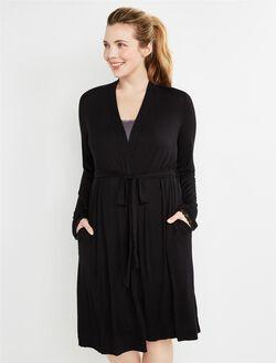 Bump In The Night Tie Front Nursing Robe, Black