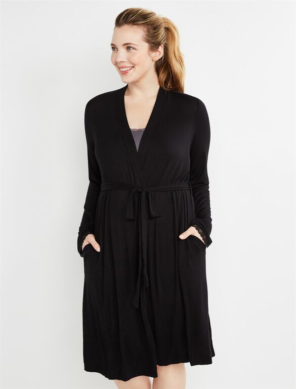 Bump In The Night Tie Front Nursing Robe, Black
