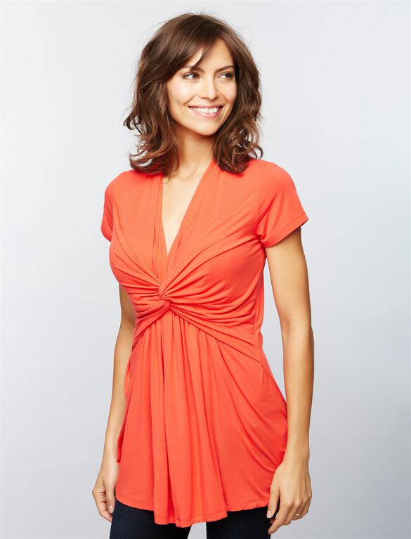 Seraphine Knot Front Nursing Top, Coral Red