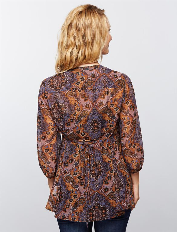3/4 Sleeve Floral Maternity Blouse- Prints, Blue Paisley