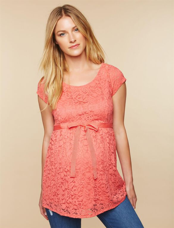 Tie Front Lace Peplum Maternity Top, Sunset