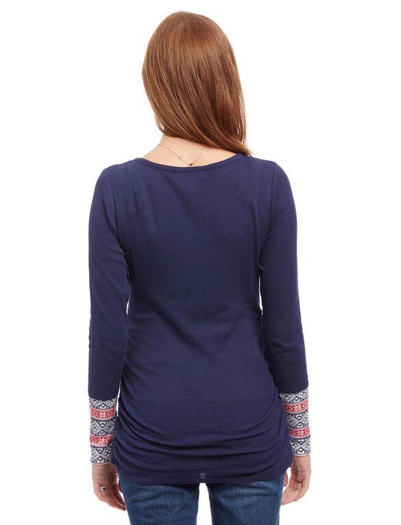 Fairisle Maternity Shirt, Navy