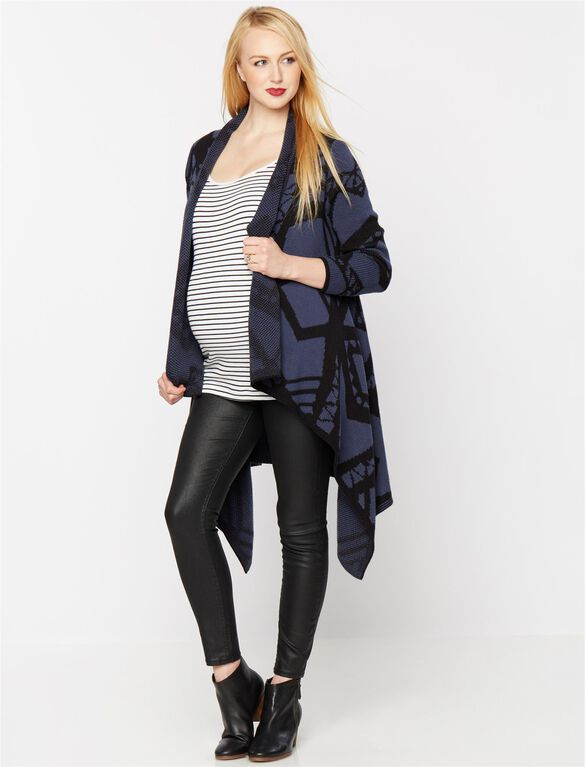 Blank Nyc Open Front Maternity Cardigan, Blue/Black