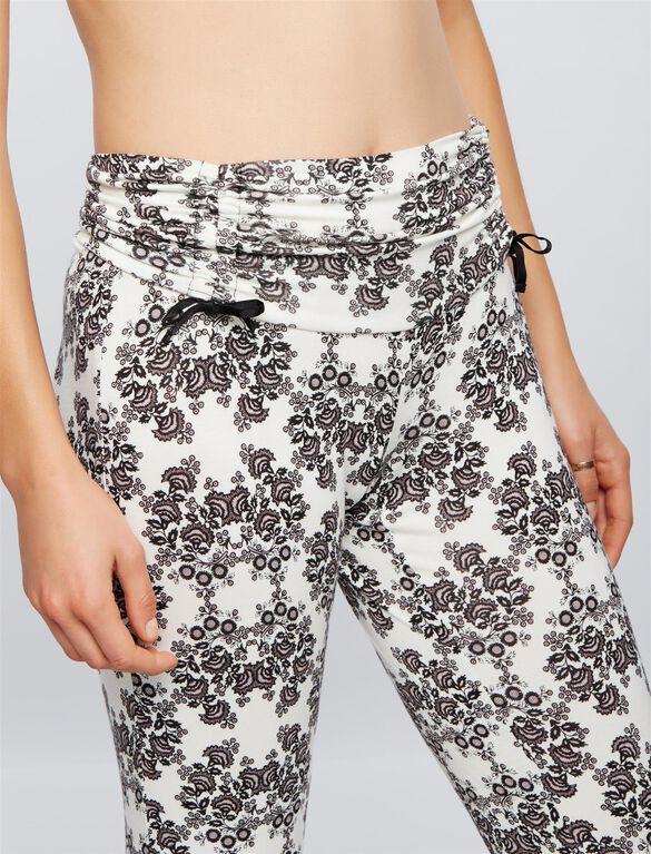 Bow Detail Maternity Sleep Pants- Damask Floral, Damask Floral