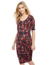 Side Ruched Maternity Dress- Print, Dark Floral