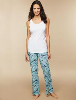 Maternity Sleep Pants, Navy Deer Print
