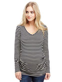 Long Sleeve Maternity Tee- Black/White Stripe, Black White Stripe