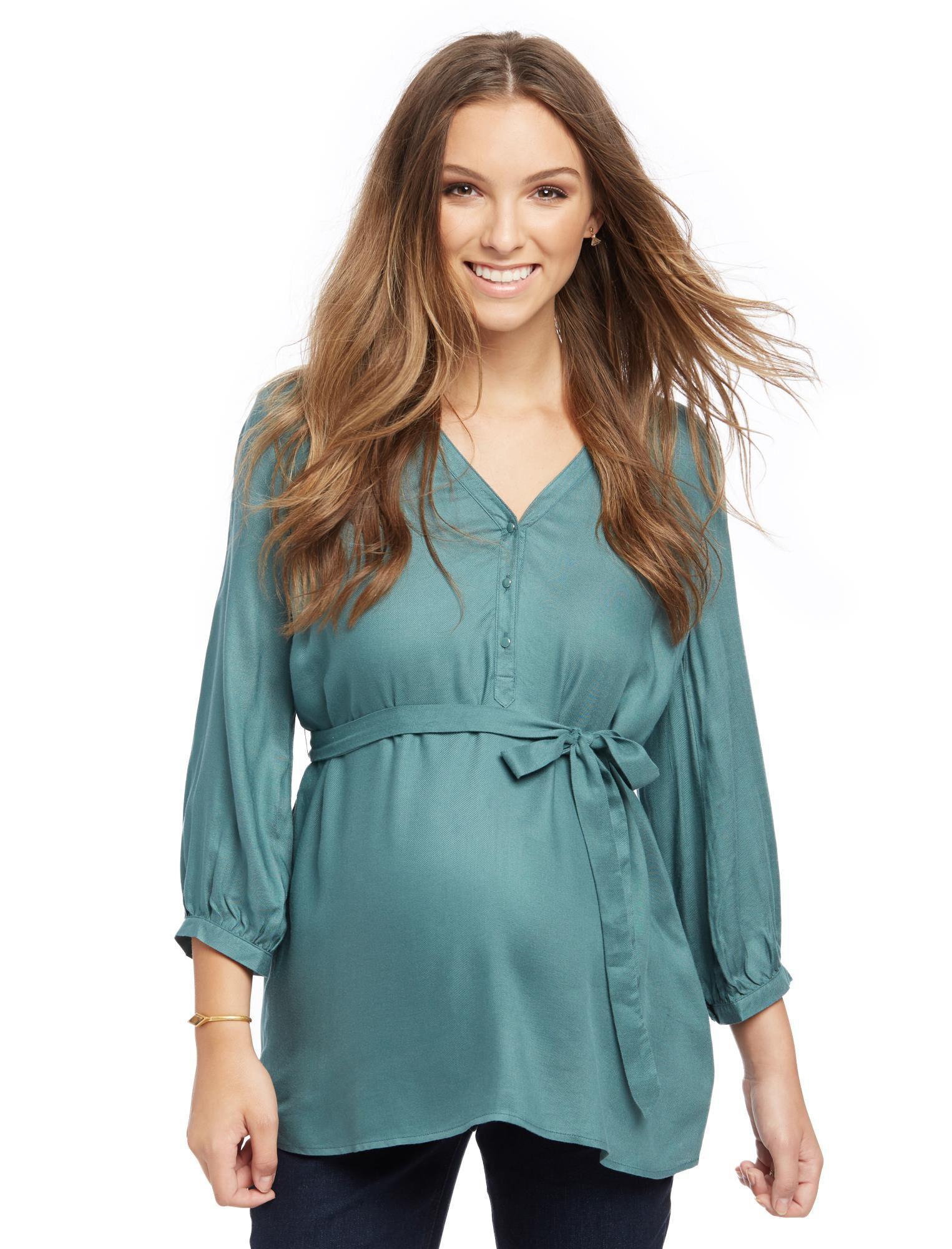 Button Detail Maternity Blouse