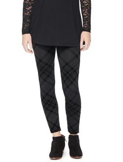 Seamless Fleece Plaid Maternity Leggings, Black