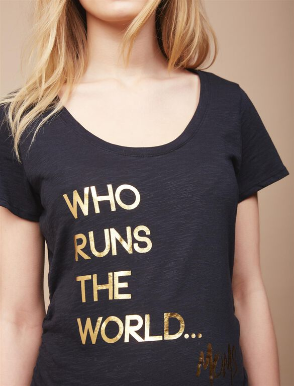 Who Runs The World Maternity Tee, Black