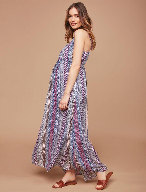 Pleated Printed Maternity Maxi Dress, Blue Geo Stripe