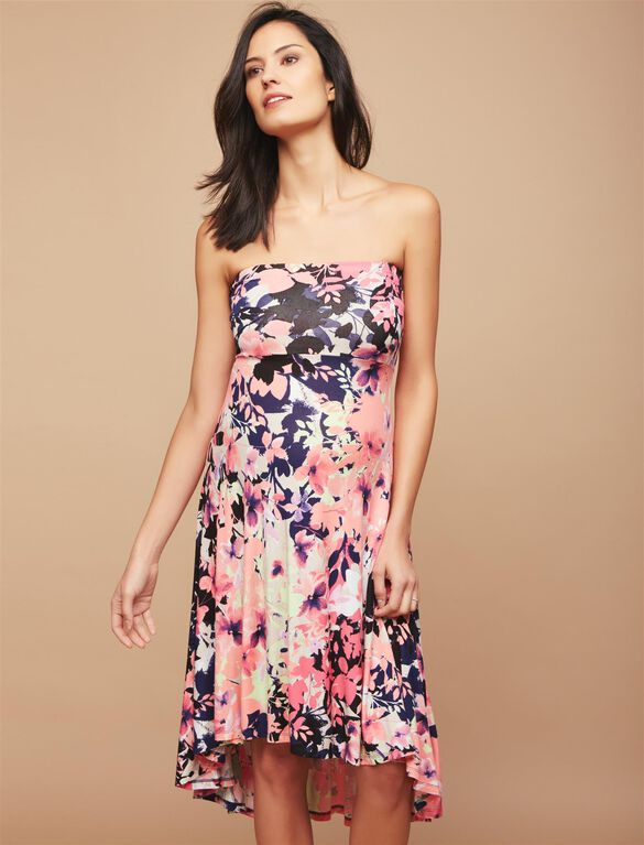 Strapless High-low Hem Maternity Dress- Pink Floral, Pink Print
