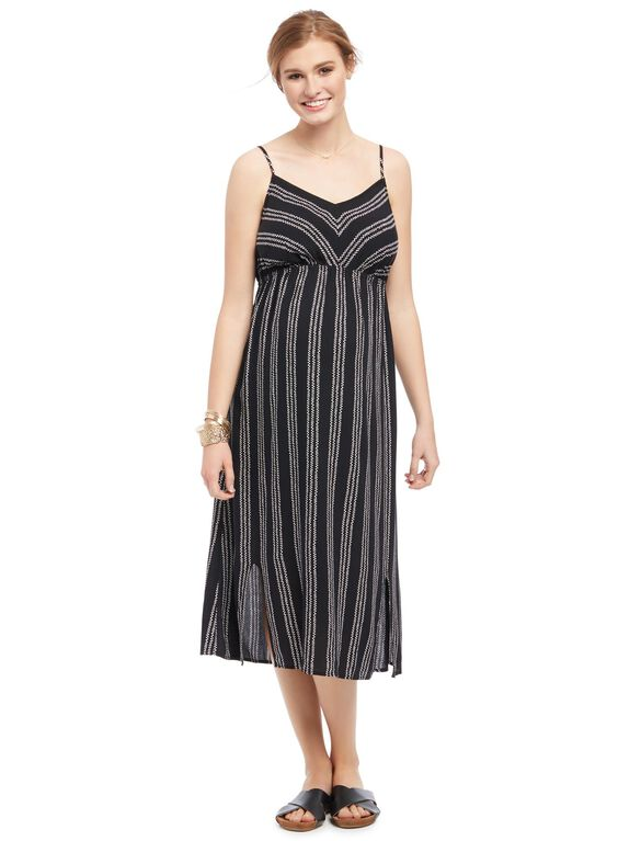 Striped Slit Detail Maternity Dress, Black And White
