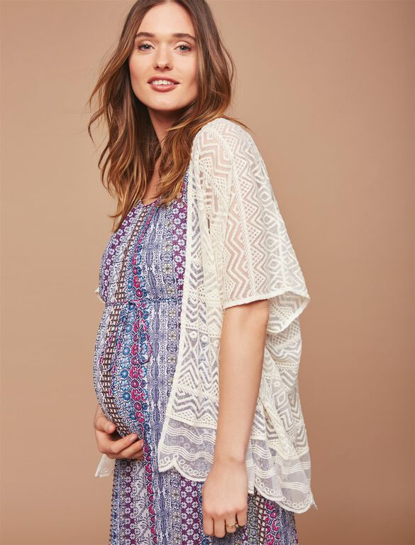 Embroidered Mesh Maternity Cardigan, Cream