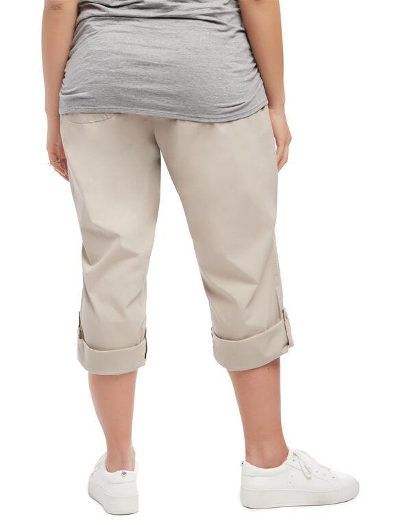 Plus Size Secret Fit Belly Poplin Maternity Pants- Stone, Stone
