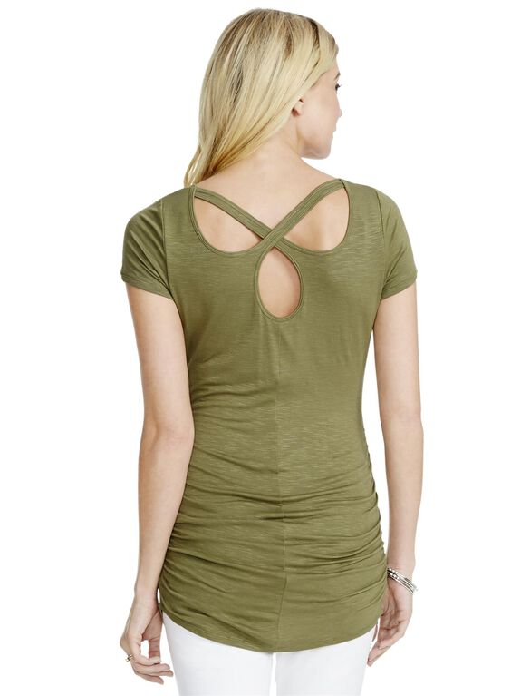Jessica Simpson Cross Back Maternity Tee, Olive