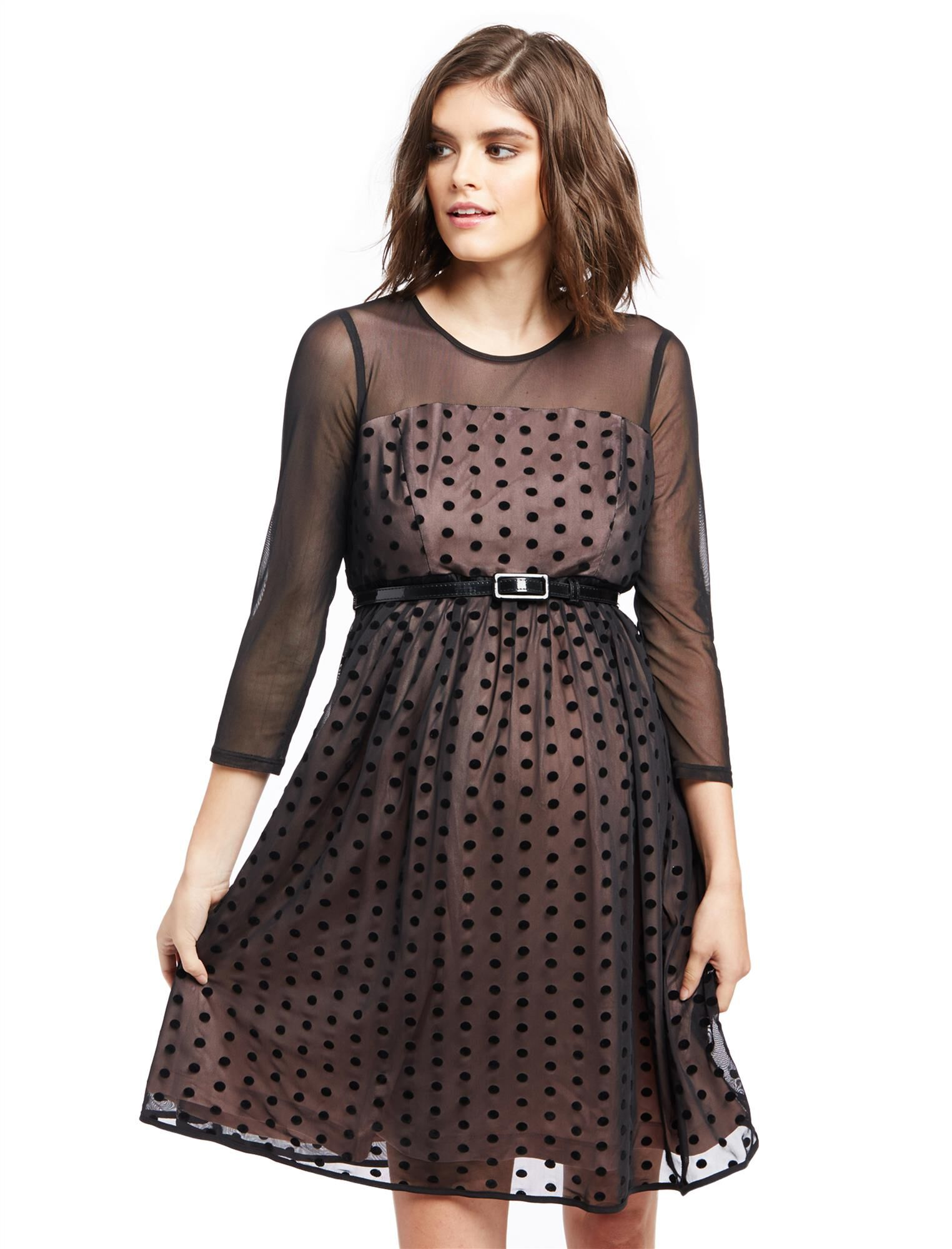 Vintage Maternity Clothing Styles 1910-1960 Mesh Dot Maternity Dress $29.99 AT vintagedancer.com
