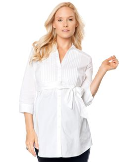 Belted Maternity Tunic, White
