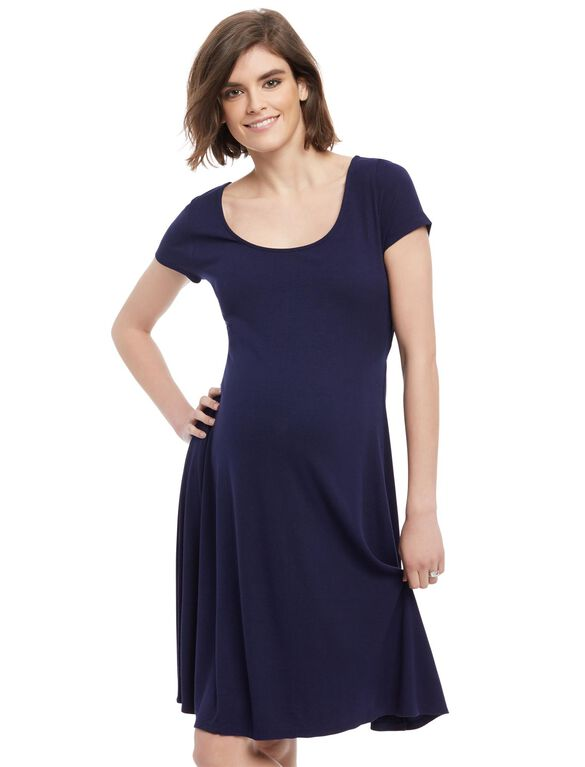 Rib Knit Back Cutout Maternity Dress- Navy, Navy