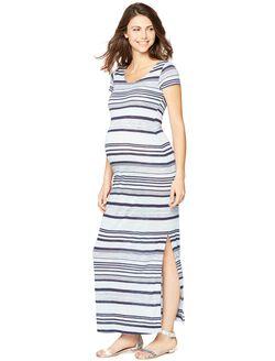 Striped Back Cutout Maternity Maxi Dress, Multi Stripe