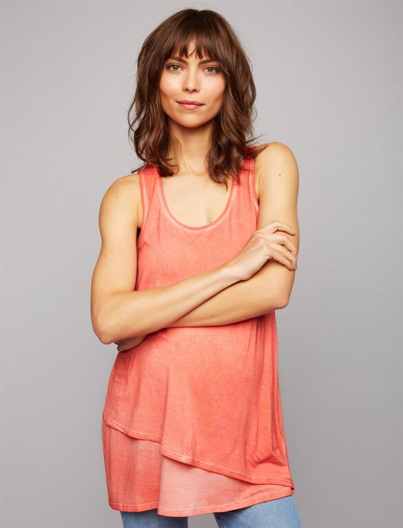Back Interest Maternity Tank Top, Coral