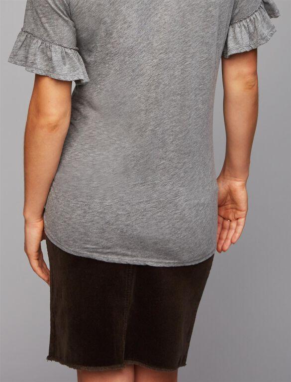 Velvet Ruffle Sleeve Maternity Tee, Grey