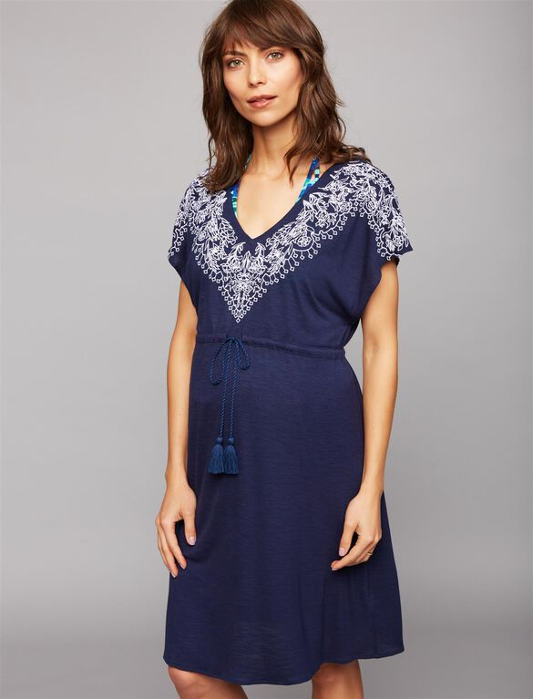 Embroidery Maternity Swim Cover-up, Navy