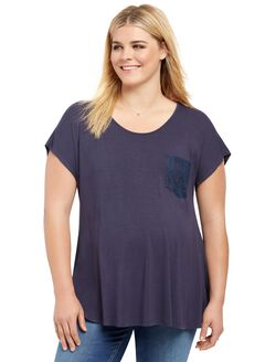 Plus Size Lace Trim Maternity Top, Navy