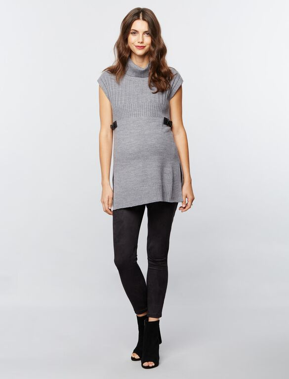 Design History Tab Waist Maternity Sweater, Heather Grey