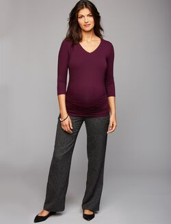 Secret Fit Belly Novelty Stitch Boot Cut Maternity Pants, Bkack