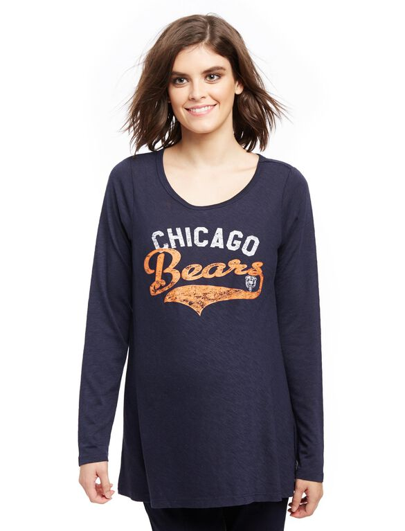 Chicogo Bears NFL Long Sleeve Maternity Graphic Tee, Bears Blue