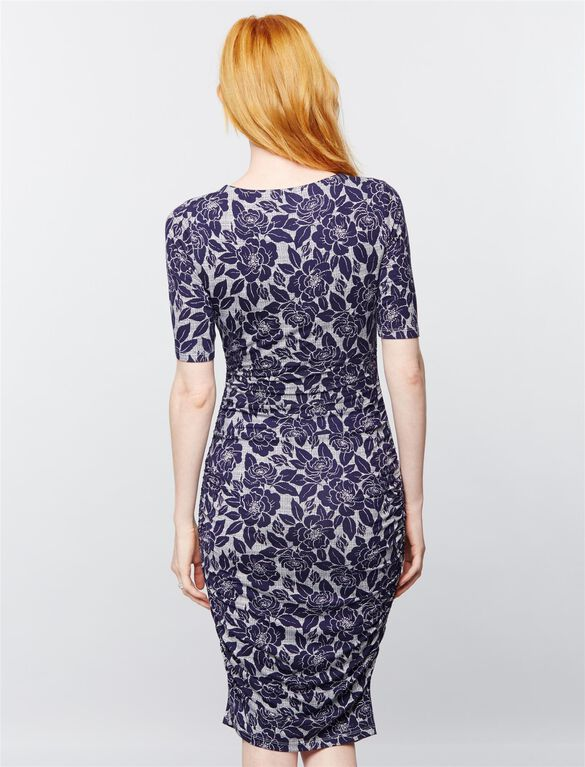Ruched Maternity Dress- Navy Floral, Navy Floral