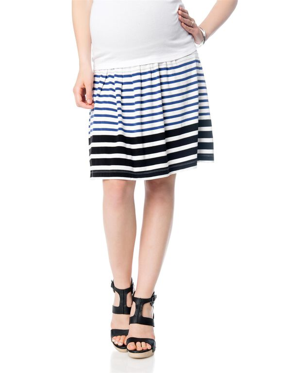 Under Belly Striped Maternity Skirt, Blue/White Stripe